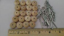 """20 Wooden Neck Button sets 4 stringing antique dolls, Bleuette size 1/2"""" across"""