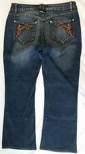 Roadrunner Jeans Size 14 Stretch Dark Wash w/ Fade Embellished Pockets Boot Cut