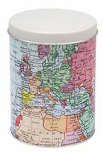 WORLD TRAVELLER ATLAS MAP Round Metal Storage TEA CADDY TIN with Tea Bags Gifts