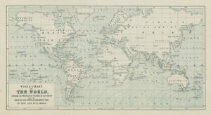 World Tidal Chart. High Water wave & time at New & Full Moon GMT. Tides 1856 map