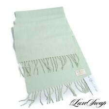 #1 MENSWEAR Begg Made in Scotland 100% Cashmere Pale Lime Green Flannel Scarf