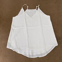 Evera B Women's Size Small Off White V-Neck Chiffon Spaghetti Strap Cami Top