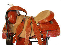 USED WESTERN SADDLE 16 17 FLORAL TOOLED RANCH ROPER ROPING HORSE RODEO COWBOY