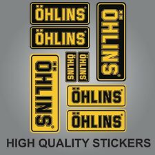 8x OHLINS SHOCK FORK DAMPER STICKERS DECALS SHEET SPONSOR KIT BLACK AND YELLOW