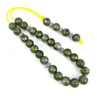 Greek komboloi/ worry beads with green marble colored beads and silver details