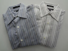 2 NEW MENS MACYS BRANDINI BLACK GRAY BLUE WHITE BUTTON DOWN DRESS SHIRTS SMALL
