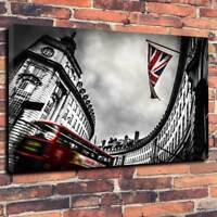 "Union Jack London Printed Box Canvas Picture A1.30""x20""Deep 30mm Frame Art Bus"