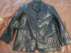 Men Daniel Hechter black leather box style jacket xl