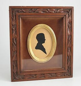Paper Silhouette of gentleman 19th century American Hand carved Wood Frame