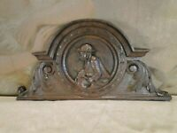WOODEN CROWN 1800's ANTIQUE FRENCH HAND CARVED ORNATE PANEL SALVAGED CARVING