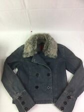 DKNY Jeans Denim Jacket Blue Faux Fur Size M