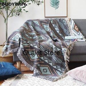 European Geometry Throw Blanket Sofa Slipcover  Non-slip Stitching Blankets New