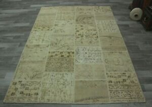 Traditional Handmade Ethnic Carpet Turkish Beige Color Patchwork Area Rug 6x9 ft