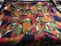 """VINTAGE MOD GEOMETRIC SCARF 30"""" SQUARE Navy Olive Red"""