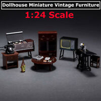 6Pcs/Set Mini Janpanese Doll House Miniature Vintage Furniture Set In 1:24 Scale