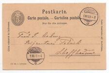1890 SWITZERLAND Cover APPENZELL to SCHAFFHAUSEN Stationery Postcard 5c