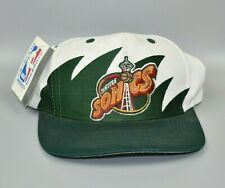 Seattle Sonics Supersonics Sharktooth Logo 7 Vintage 90's Snapback Cap Hat - NWT