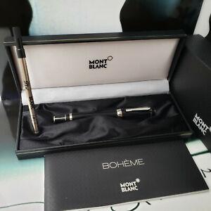MONTBLANC Boheme Black Platinum Line No Stone Rollerball Pen Rare ⚡NOS⚡
