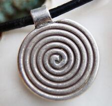 Klein Rund 980er Silber Spiralen Anhänger Amulett Kelten Wikinger Kreis Modern
