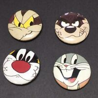 Lot of 4 Warner Bros Button Covers Looney Tunes Taz Bugs Bunny Sylvester Wyle E