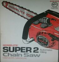 Homelite Super 2 Chain Saw Chainsaw Color Owner, Parts & Service Repair Manual
