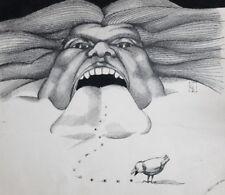 Vintage surrealist figural ink painting signed