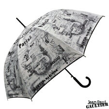 Jean Paul Gaultier Automatic Umbrella with White Canopy with Black Stencil Print