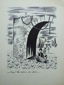PEYNET Raymond : la rivière a du retard - GRAVURE humoristique signée  #1943