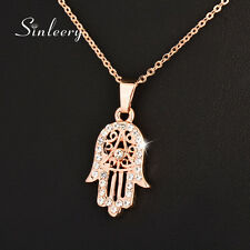 Turkey Hamsa Hand Fatima Palm Zircon Pendant Necklace 18K Rose Gold Plated XL681