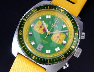 Zodiac Sea Dragon Chronograph Rotating Bezel Quartz Mens Yellow Green Watch