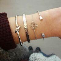 4pcs/Set Simple Women Silver Plated Open Adjustable Cuff Bracelet Bangle Jewelry