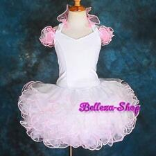Cupcake Halter National Pageant Dress Shell DIY Party White Pink  Size 4 PT002