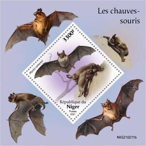 Niger 2021 MNH Wild Animals Stamps Bats Bat Flying Mammals 1v S/S