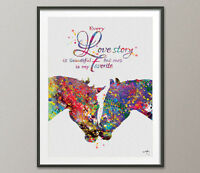 Horses Kissing Love Quote Watercolor Art Print Anniversary Gift Wedding Gift