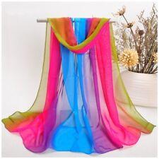 destockage foulard écharpe neuf 100% mousseline de soie vert rose bleu violet