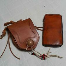 Red Moon Medicine Bag & leather Wallet set Brown Redmoon motorcycle bike F/S