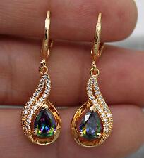 18K Yellow Gold Filled -MYSTICAL Topaz Hollow Waterdrop Women Drop Gems Earrings