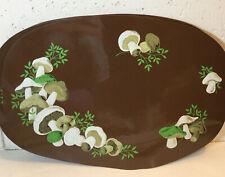 Vintage Vinyl Foam Mushroom Oval Shape Placemats Set of 5, Brown
