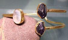 925 silver 19gr cut moonstone & rough amethyst gold plated cuff bangle.