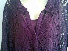 16 PLUM LACE 3/4 SLEEVE COLLARED KNEE LENGTH DRESS FULL UNDER CHEMISE NWT $29