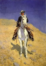 Oil painting Frederic Remington - self portrait on a horse in landscape canvas