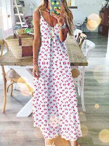 Women Ladies Long Maxi Dress Boho Holiday Beach Summer Party Floral Sundress