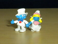 Smurfette Bride Smurf Groom Wedding Cake Vintage Toy Smurfs Figures 20412 20413