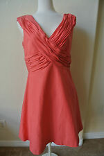 ANTHROPOLOGIE MIRROR OF VENUS Sexy Ruched Crossed  Silk Dress 12 NWOT$238 Coral!
