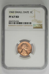 1960 Small Date Proof 1C Lincoln Memorial Cent NGC PF 67 RD
