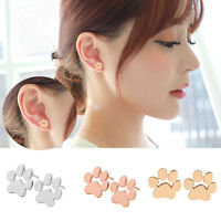 1 Pair Vintage Dog Paw Print Ear Stud Women Gold Silver Earrings Jewelry Gift