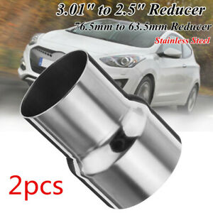 2pcs 76mm 3'' to 2.5'' 63mm Exhaust Reducer Adapter Pipe Tube Stainless Steel AU