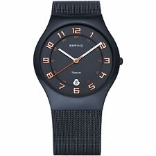 Bering Time -Titanium Case - Men's Navy Blue Milanese Mesh Strap Watch 11937-393