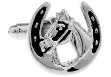 Horse Horseshoe Cufflinks Silver Black Wedding Fancy Gift Box Free Ship USA