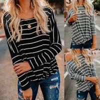 Lady Loose Casual T-Shirt Women's Long Sleeve Stripe Tops Blouse Striped T-Shirt